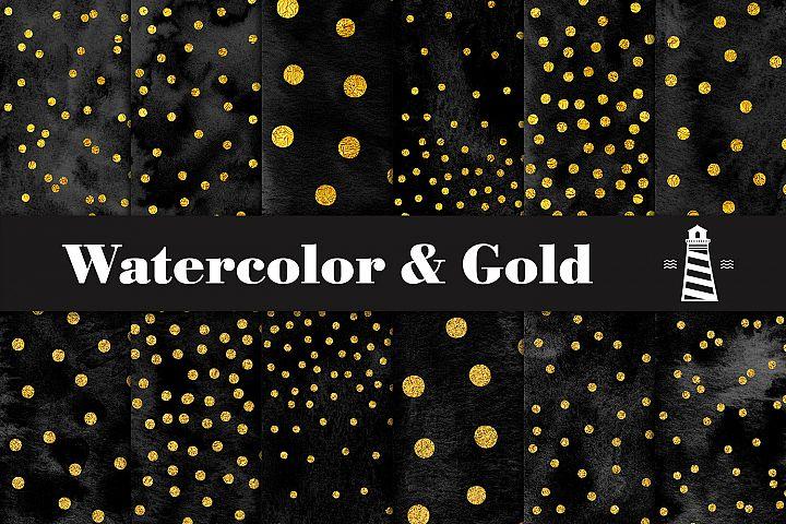 Black Watercolor And Gold Confetti Digital Paper