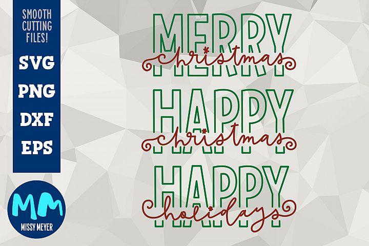 Winter Christmas bundle, hip modern handwritten SVG cut file