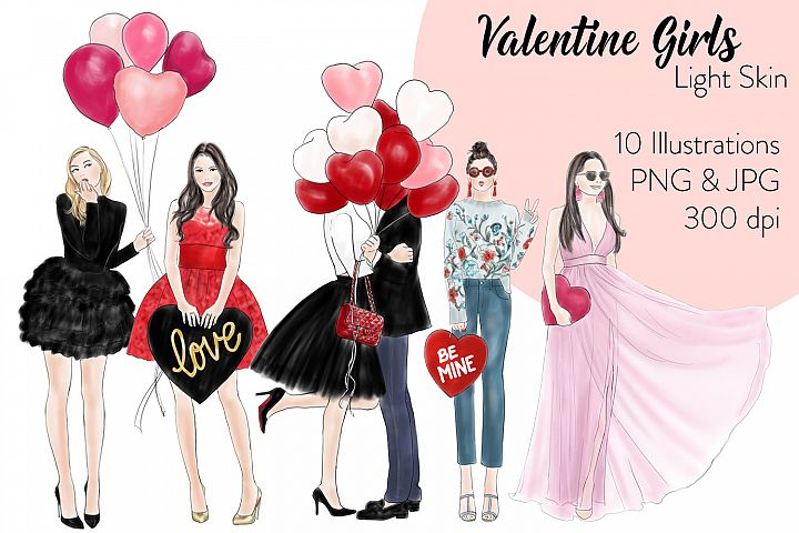 Valentine Girls - Light Skin fashion illustration clipart