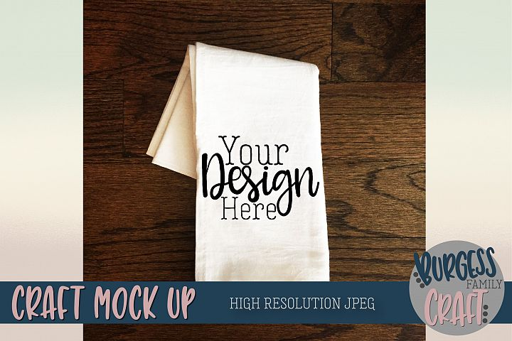 Flour sack tea towel Craft Mock up | High Resolution JPEG