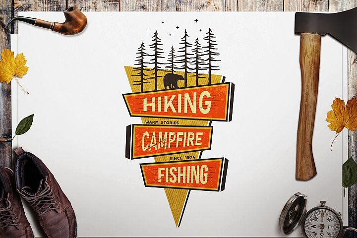 Mountains Logo, Retro Hiking Adventure Badge T-Shirt SVG Cut