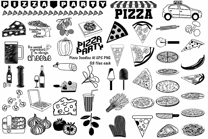 Pizza Party Food Doodles AI EPS PNG