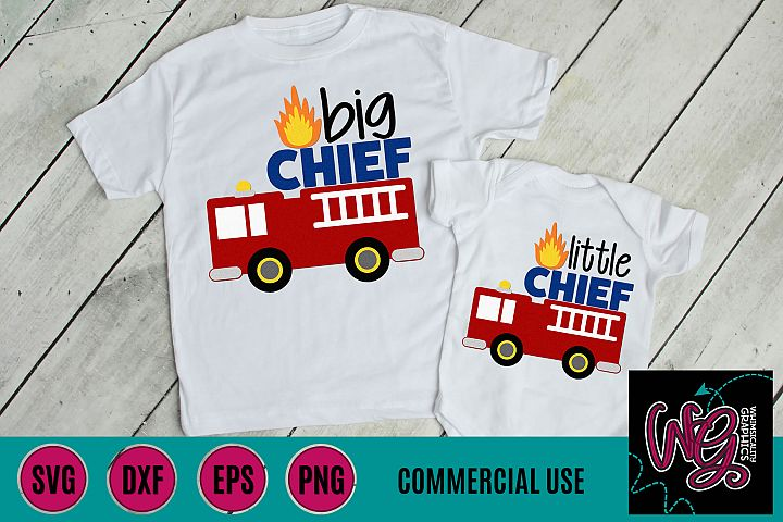 Fire Truck Big Little Chief SVG DXF PNG EPS Commercial