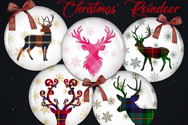 Christmas Digital Collage Sheet, Reindeer Printable Images