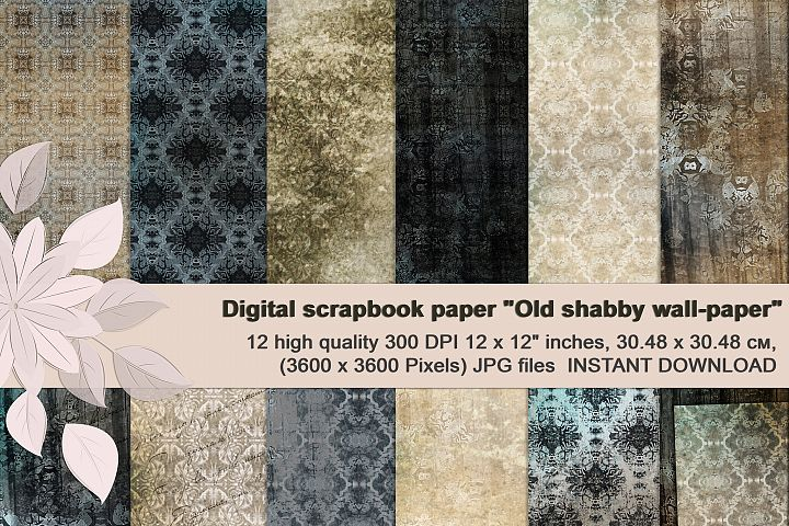 Beige-Blue Old Shabby Digital Backgrounds