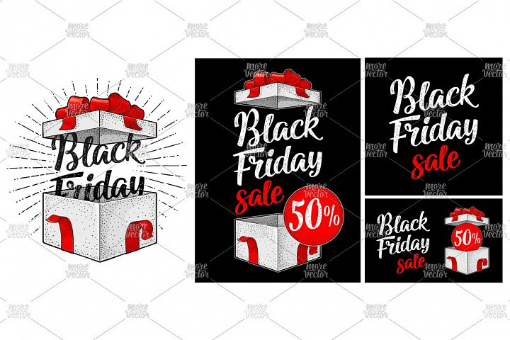 Open gift box with ribbon, bow, ray. Black Friday lettering