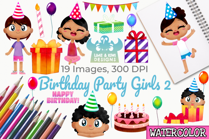 Birthday Party Girls 2 Watercolor Clipart, Instant Download