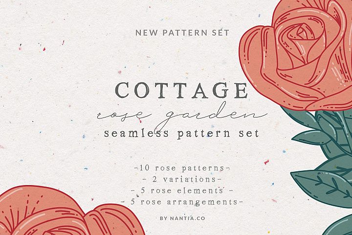 Cottage Rose Garden Pattern Set