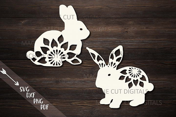 Floral Easter Bunnies set paper cut laser cut svg dxf files