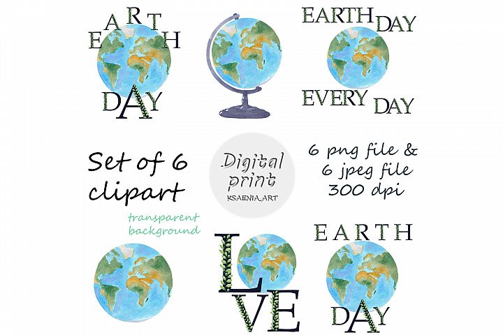 Set of 6 Earth Watercolor Clipart. Graphic of globe