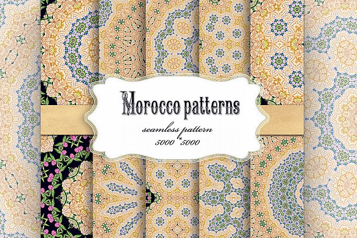 Collection of Seamless patterns, Moroccan, Oriental style.