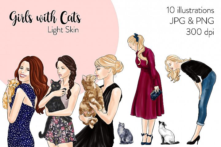 Fashion illustration clipart - Girls with Cats - Light Skin
