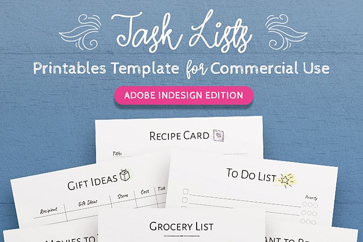 Printable Task Lists InDesign Template For Commercial Use