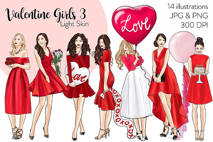 Fashion illustration clipart -Valentine Girls 3 - Light Skin