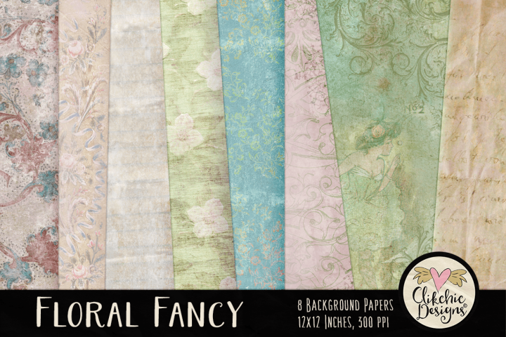 Shabby Background Textures - Floral Fancy Papers