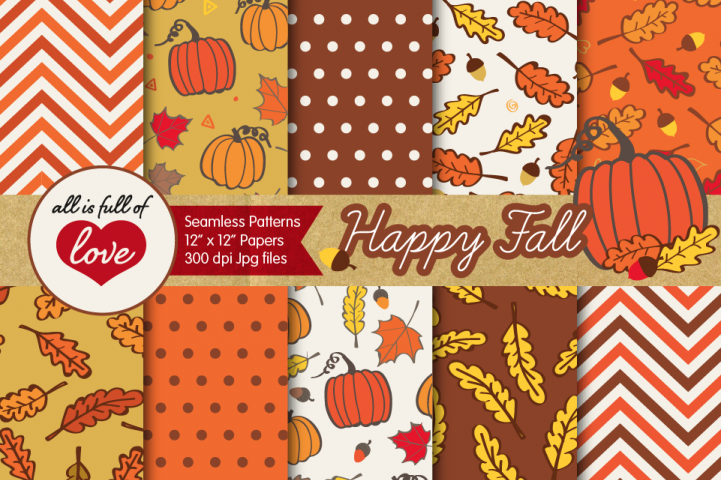 Autumn Digital Paper Fall Background Patterns with acorns, leafs and pumpkins