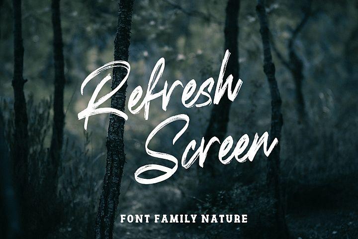 Refresh Screen Brush Script Font Duo