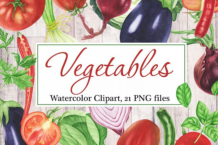 Watercolor Vegetables Clipart example