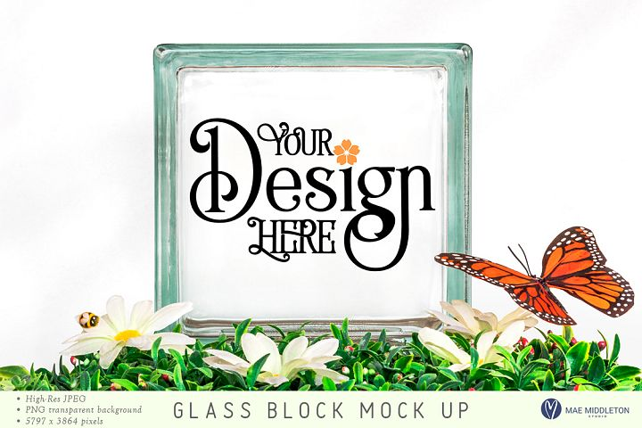 Square Glass Block mock up, styled photo