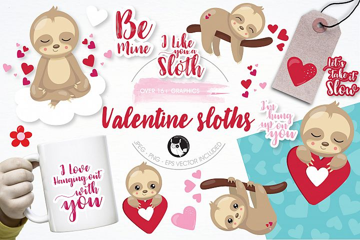 Valentine sloths graphics and illustrations