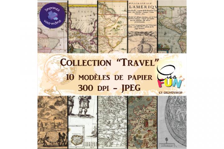 Lot de 10 papiers numériques - Collection Travel 02