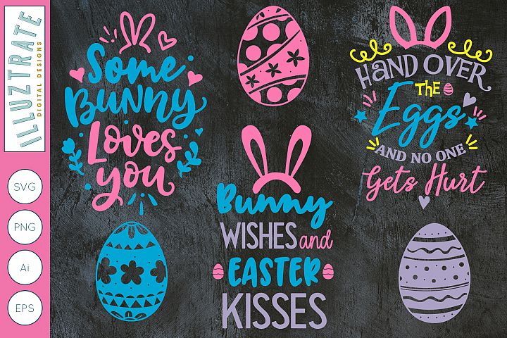 Easter Mini Bundle | Easter Quotes and Easter eggs SVG Cut