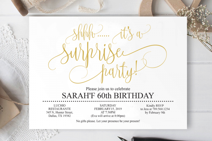 Gold Surprise birthday invitation 60th birthday Party