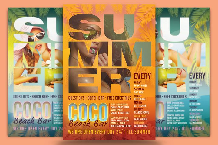 Coco Beach Bar Flyer Template