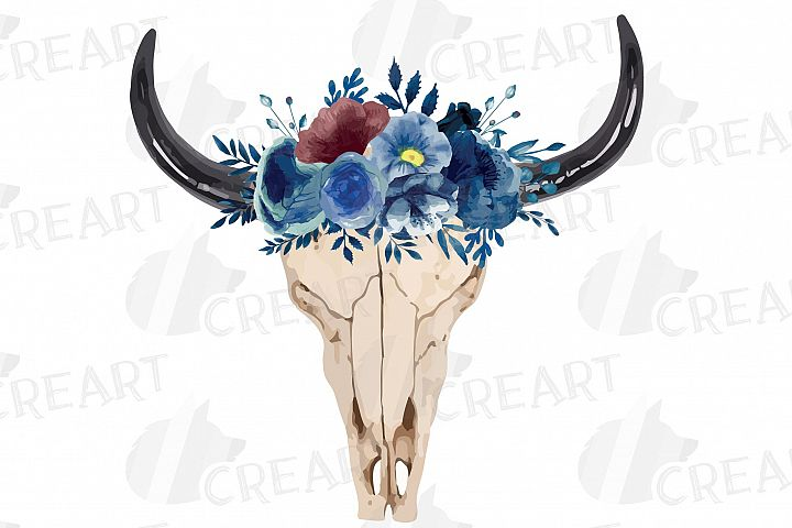 Navy blue watercolor floral bull skull clipart, tribal decor