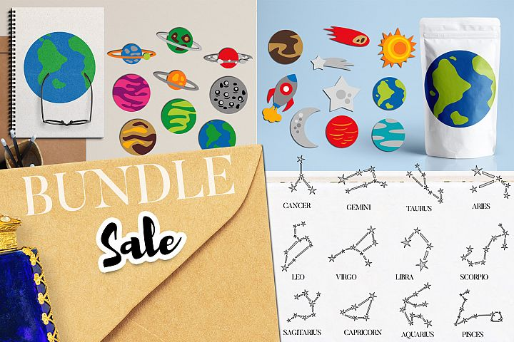 Planets and Star constellation Graphic Bundle
