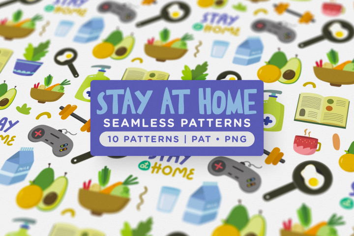 Stay at Home Seamless Patterns