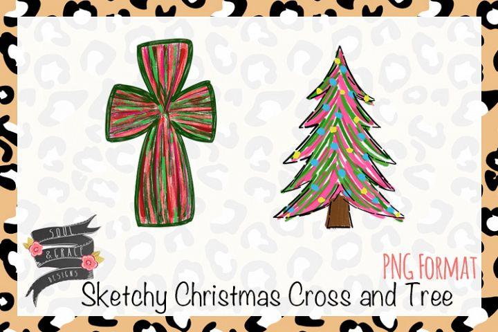 Sketchy Christmas Cross and Tree