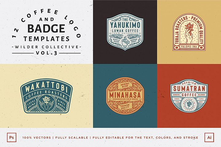 12 Coffee Logo and Badge Templates