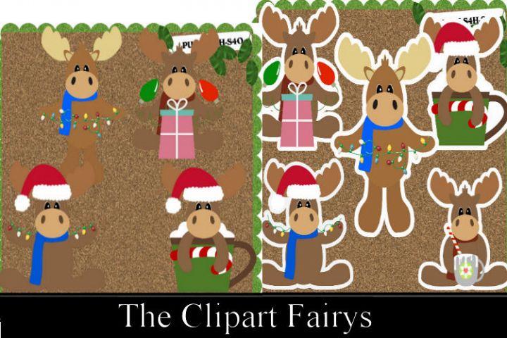 Christmas Moose Bundle Clipart