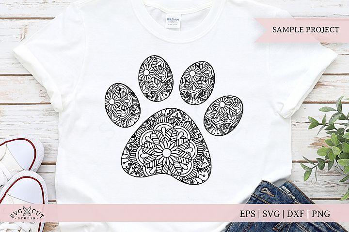 Paw Mandala SVG, Dog Paw print SVG, Zentangle Paw SVG