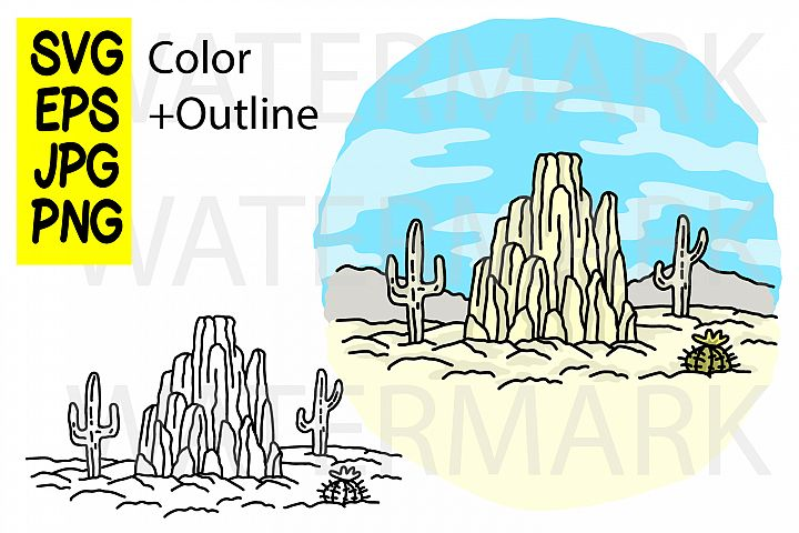Desert view - SVG EPS JPG PNG
