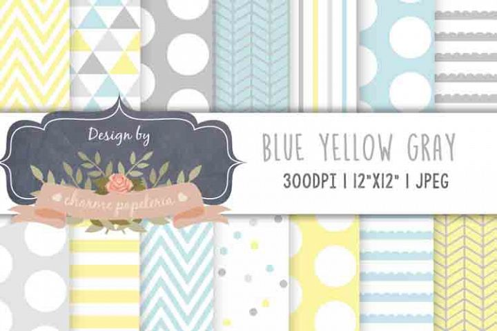 Pastel blue yellow gray digital papers, triangles