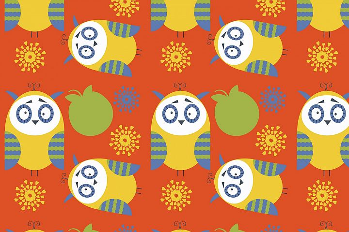 Owls seamless vector pattern