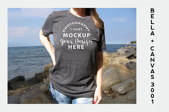 Bella Canvas 3001 T-shirt mock-up, color Dark Grey Heather