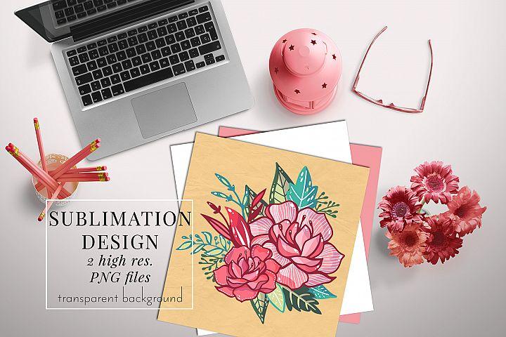 floral bouquet 1 sublimation design, PNG t-shirt design pink
