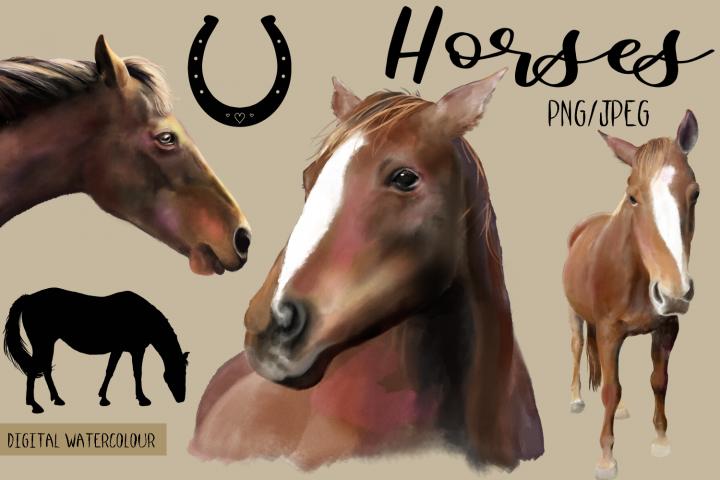 Horses | Digital Watercolor Clip Art | PNG/JPEG