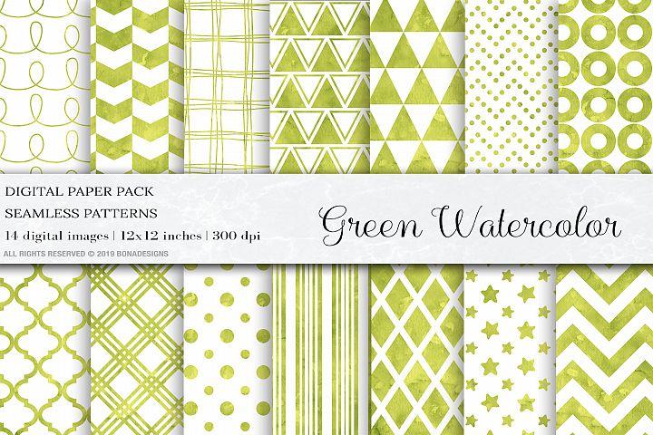 Watercolor Digital Paper,Green Watercolor Background