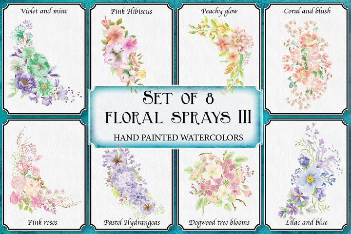 Watercolor floral sprays III - set of 8