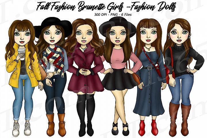 Fall Fashion Autumn Girls Brunette Planner Clipart Set