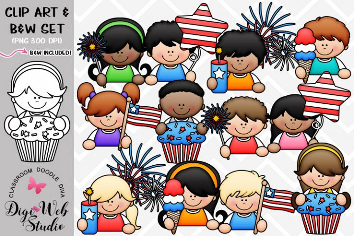 Clip Art / Illustrations - 4th of July Topper Kids