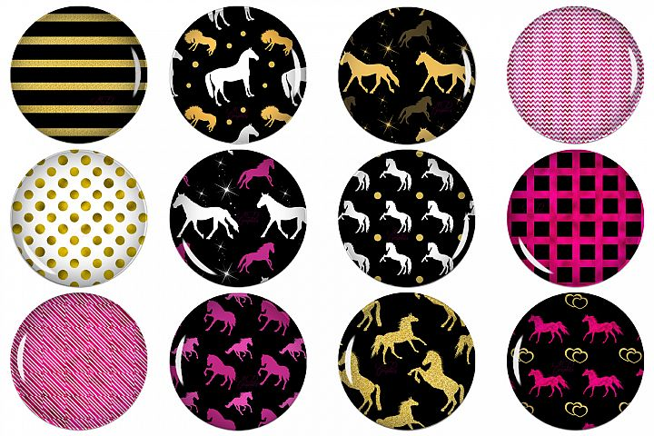 Horses Circle Images, Digital Collage Sheet, Printable Image