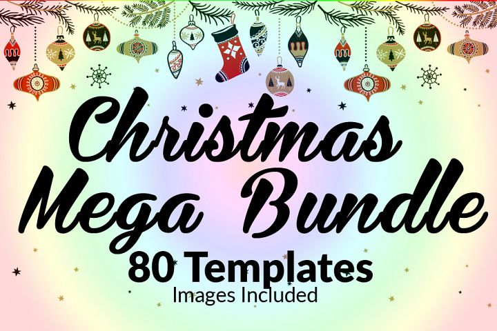 80 Christmas Greeting Templates Maga Bundle