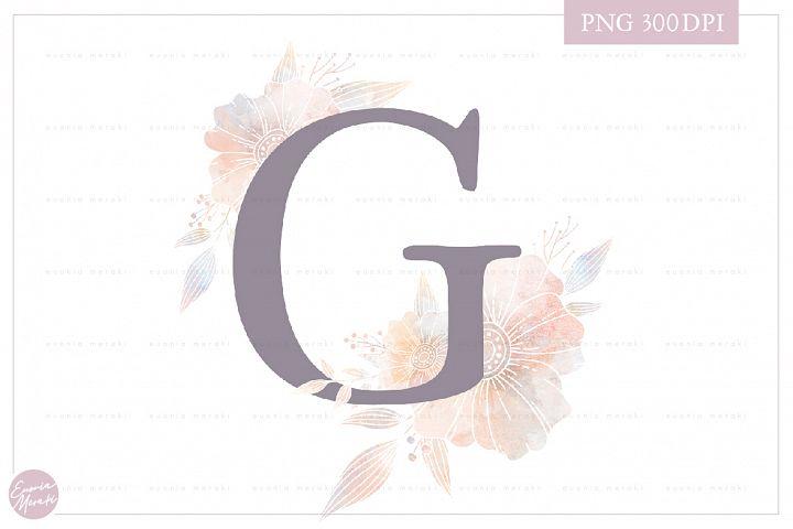 Letter G Floral MONOGRAM - Elegant Flower Initials