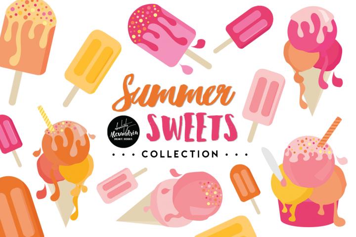 Summer Sweets Clipart Graphics & Digital Paper Patterns Bundle