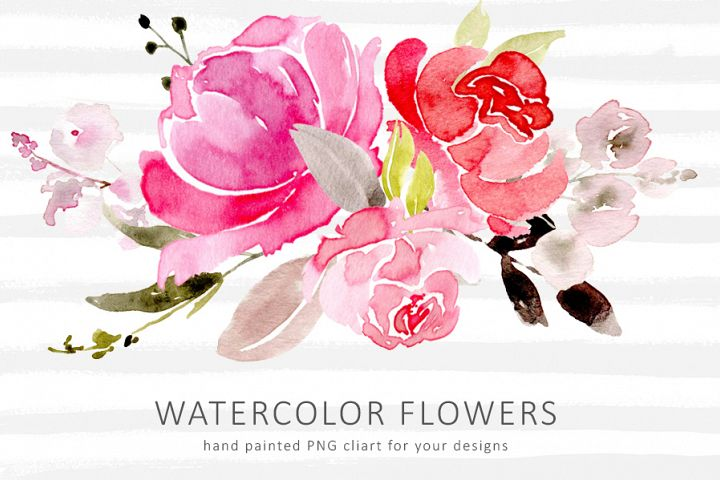 Watercolor Red and Pink PNG Flowers